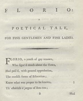 Florio: A Tale, for Fine Gentlemen and Fine Ladies ; And, The Bas Bleu