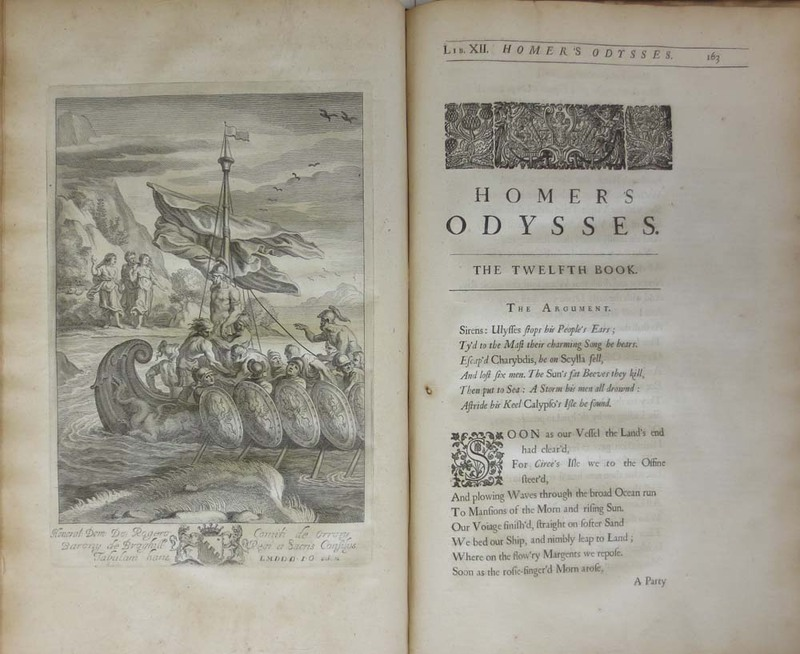 Homer his Odysses, Translated, Adorn'd with Sculpture, and Illustrated with Annotations, by John Ogilby.