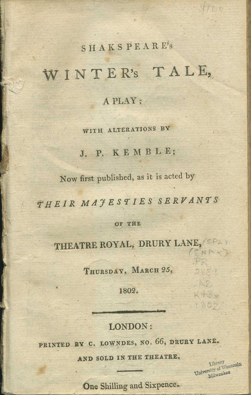 Shakespeare's Winter's Tale, a Play