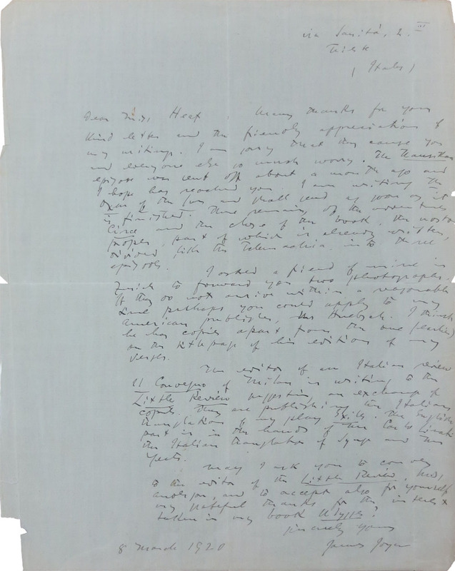 James Joyce to Jane Heap