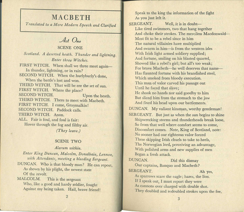 Macbeth. Translated to a More Modern Speech and Clarified by Frank P. Zeidler.