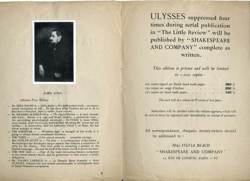Ulysses by James Joyce will be published in the autumn of 1921 by [Shakespeare and Company]
