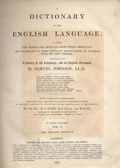 A Dictionary of the English Language.