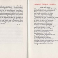 Poems by Thomas Parnell, Selected by Lennox Robinson