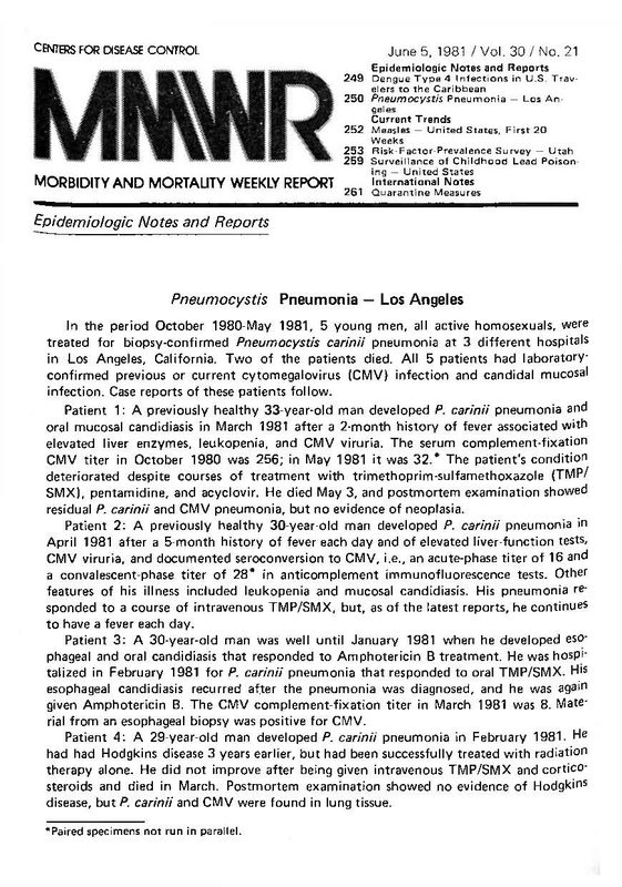 Morbidity and Mortality Weekly Report (MMWR), June 5, 1981, page 2