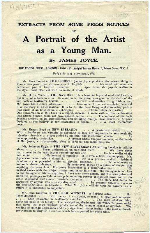 Extracts from Some Press Notices of A Portrait of the Artist as a Young Man by James Joyce