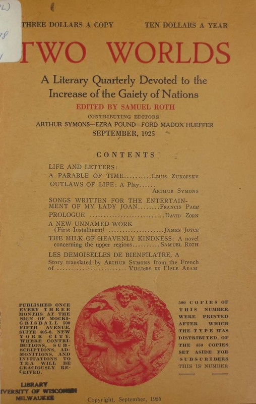 A New Unnamed Work, Two Worlds, Volume I., no.1, Sept. 1925, pp. 45-54