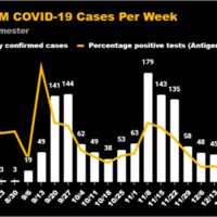 A chart illustrating the number of new confirmed cases of COVID-19 on the UWM campus during the Fall 2020 semester