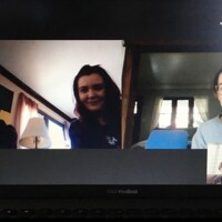 An image showing a virtual birthday party taking place inside a Zoom call.