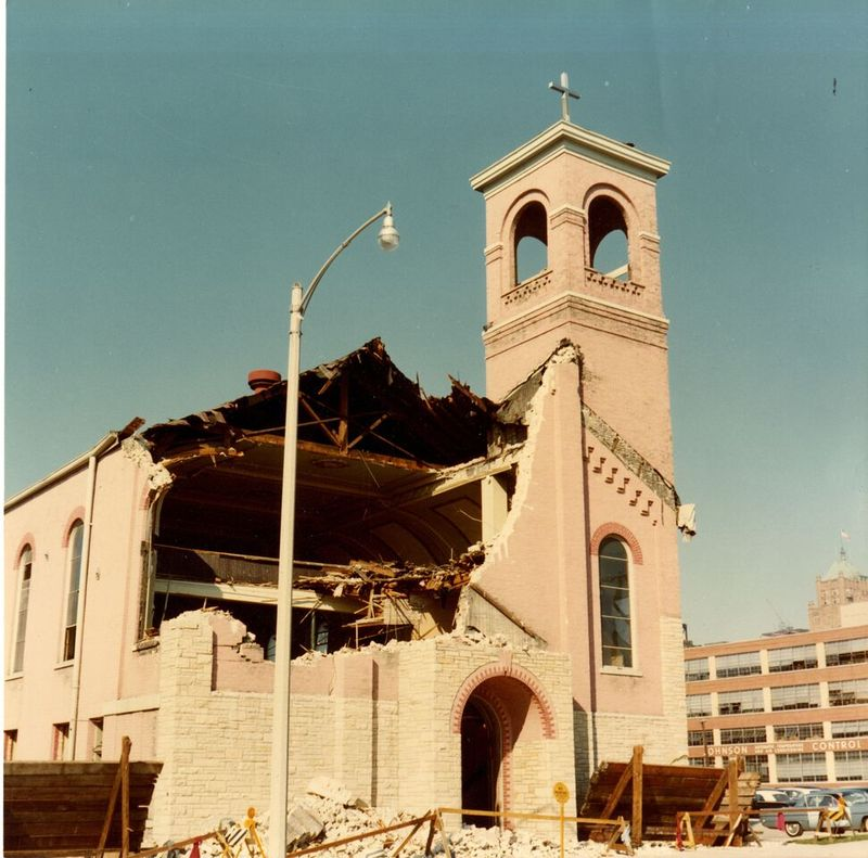 Historical photograph of the partially destroyed Blessed Virgin of Pompeii Church.